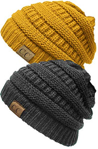 H-6020a-2-7072 Solid Ribbed Beanie Bundle - 1 Charcoal, 1 Mustard (2 Pack)
