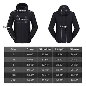 CAMEL CROWN Men's Mountain Snow Waterproof Ski Jacket Detachable Hood Windproof Fleece Parka Rain Jackt Winter Coat Black L