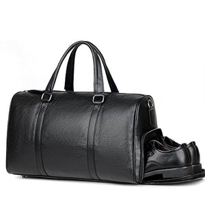 Men Gym Bag Leather Travel Weekender Overnight Duffel Bag Gym Sports Luggage Tote For Men & Women