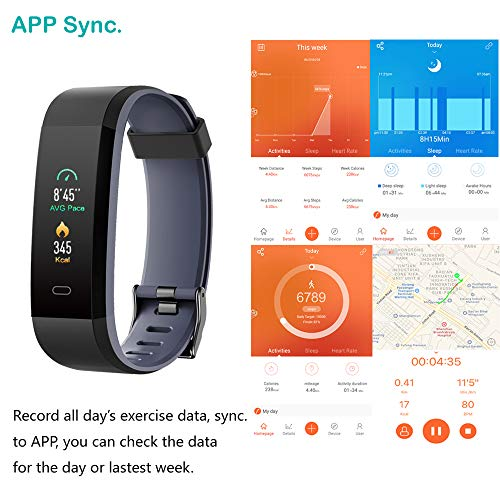 Willful Fitness Tracker with Heart Rate Monitor, Activity Tracker Pedometer with Step Counter Sleep Monitor 14 Sports Tracking,Color Screen IP68 Waterproof,Fitness Watch for Women Men Kids (Gray)