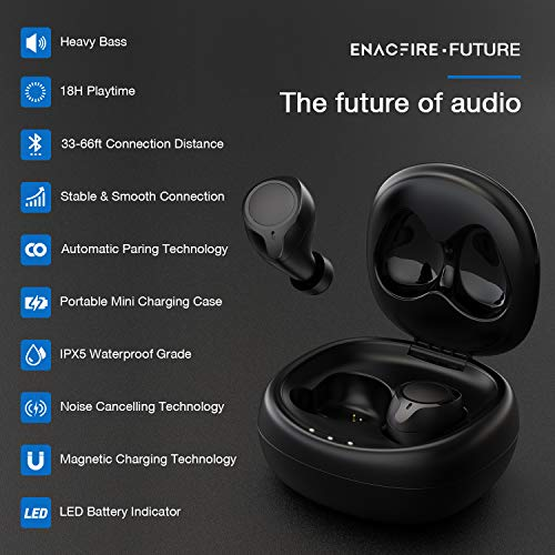 Bluetooth 5.0 Wireless Earbuds, ENACFIRE Future Wireless Bluetooth Headphones with 18H Playtime Deep Bass Stereo Sound 33-66 ft Bluetooth Range Elegant Portable Charging Case, Built-in Mic