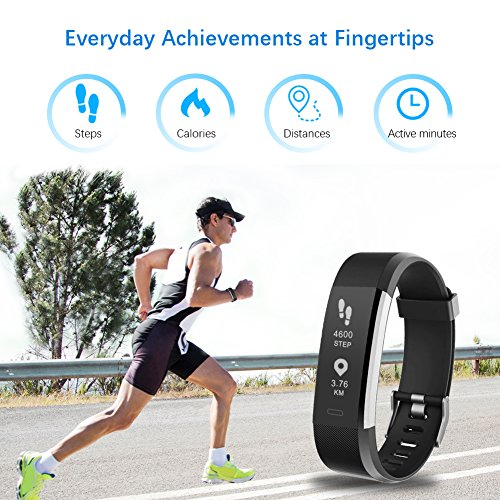 LETSCOM Fitness Tracker HR, Activity Tracker Watch with Heart Rate Monitor, Waterproof Smart Bracelet with Step Counter, Calorie Counter, Pedometer Watch for Kids Women and Men - Pharaoh Athletics