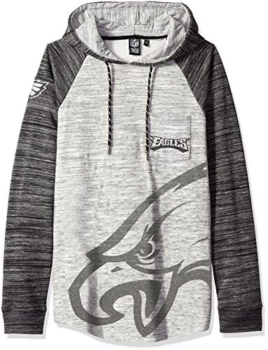 Icer Brands NFL Philadelphia Eagles Men's Fleece Hoodie Pullover Sweatshirt Space Dye, Large, Gray