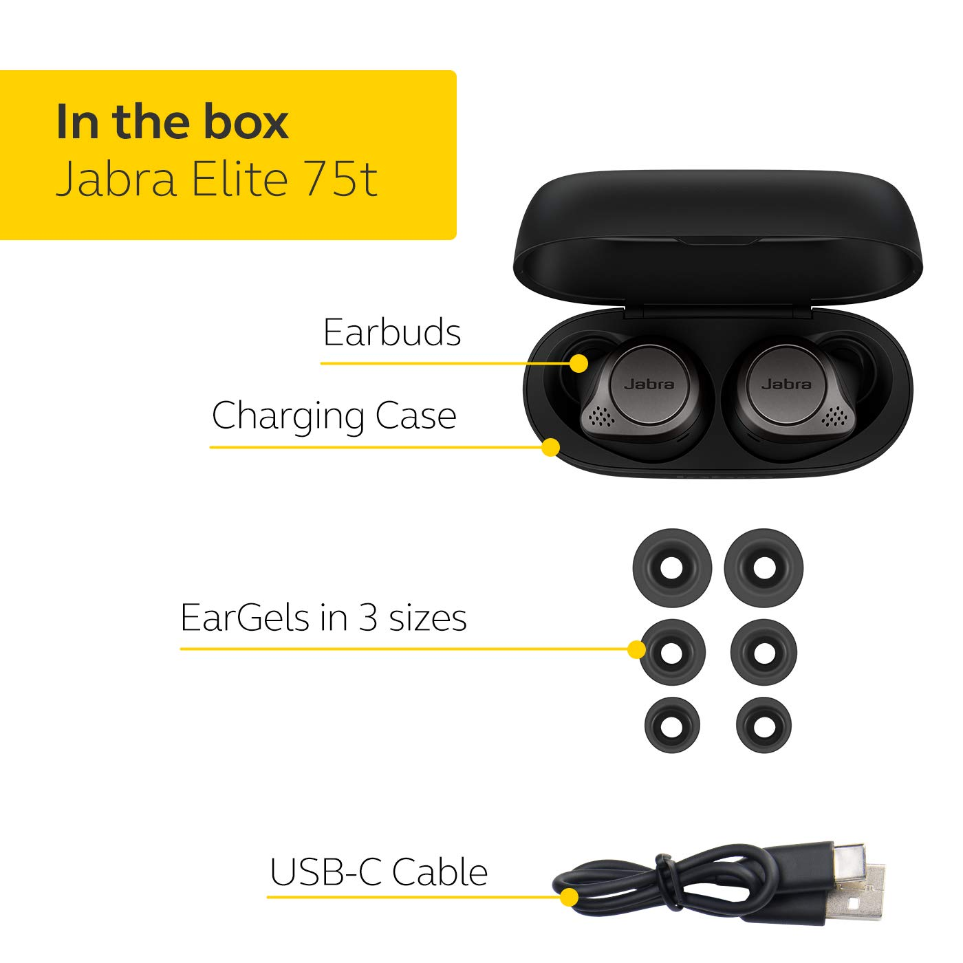 Jabra Elite 75t Earbuds Alexa Enabled True Wireless Earbuds With Charging Case Titanium Black Bluetooth Earbuds With A More Comfortable Secure Fit Long Battery Life And Great Sound Quality Pharaoh Athletics