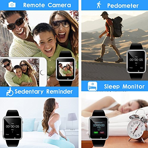 Bluetooth Smart Watch - Aeifond Touchscreen Sport Smart Wrist Watch Smartwatch Fitness Tracker Camera Pedometer SIM TF Card Slot Compatible Samsung Android iPhone iOS Men Women Kid