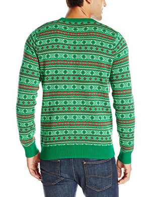 Alex Stevens Men's Circle Of Life Ugly Christmas Sweater, Green, Medium
