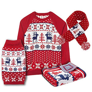 Blueberry Pet Unisex Ugly Christmas Reindeer Pullover Sweater in Tango Red & Navy Blue, X-Large