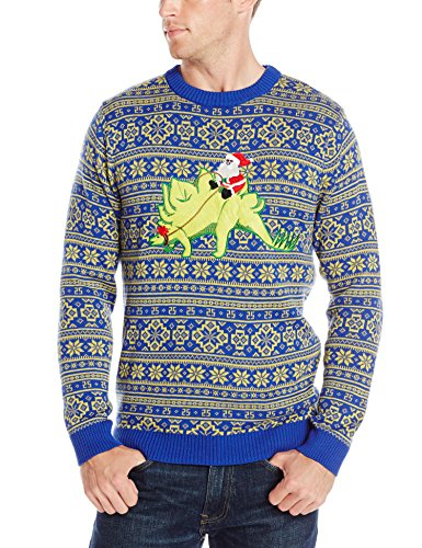 Alex Stevens Men's Stegosaurus Santa Ride Ugly Christmas Sweater, Green Combo, Large