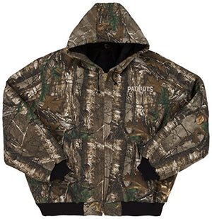 NFL New England Patriots The Camo Canvas Quilt Lined Hooded Jacket, Real Tree Camouflage, 2X - Pharaoh Athletics