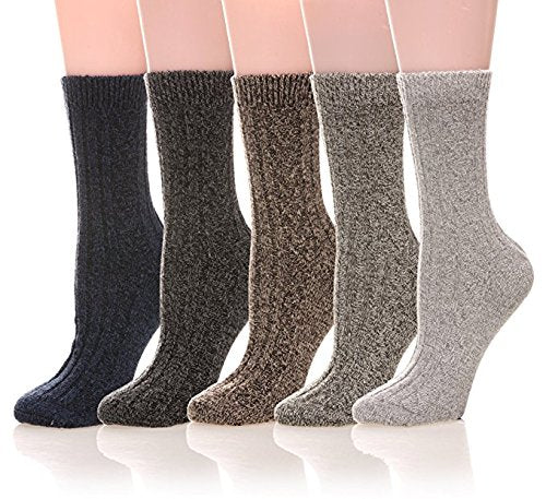 5 Pack Mens Winter Soft Warm Wool Knitting Cotton Casual Crew Socks