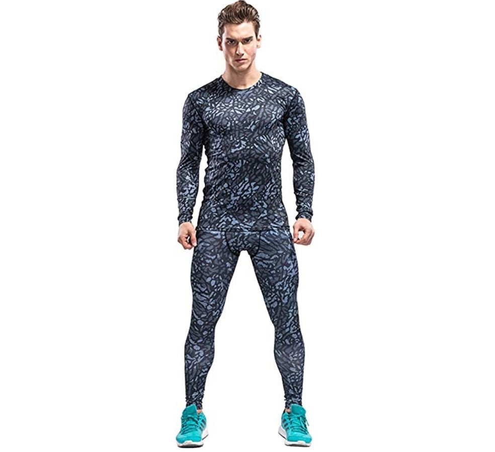 1Bests Men's Outdoor Sports Camouflage Fitness Set Tight Long-Sleeved T-Shirt + Pants