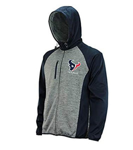 G-III Sports Mens NFL Heathered Grey Solid Fleece Full Zip Hooded Jacket, Houston Texans X-Large