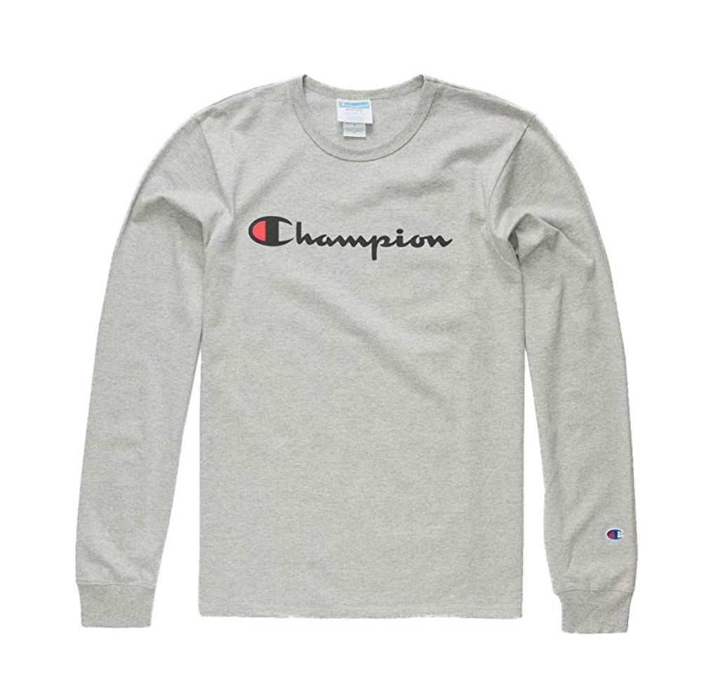 Champion LIFE Men's Heritage Long Sleeve Tee, Oxford Grey/Ink Graphic/Script, X-Small