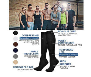 8 Pairs Compression Socks Women & Men -Best Medical,Nursing,Hiking,Travel & Flight Socks-Running & Fitness-15-20mmHg