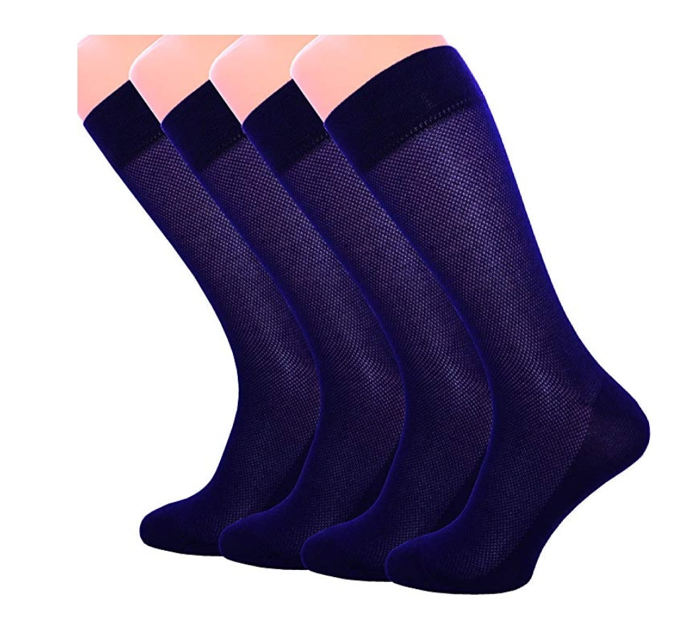 4 Pack Men's Ultra Thin Breathable Cotton Dress Crew Socks Black Brown Blue