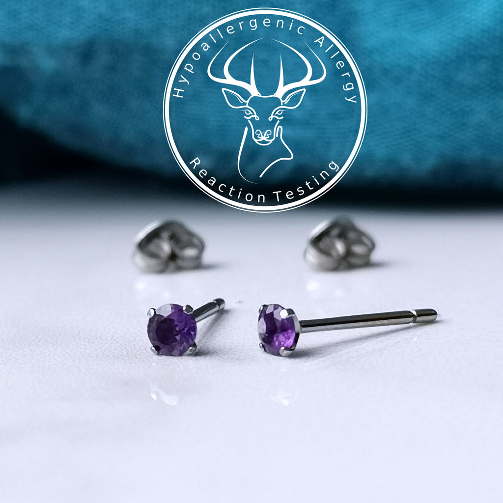 assay tested titanium amethyst earrings