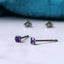 faceted purple amethyst titanium studs