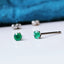 Titanium 3mm Emerald Stud Earrings