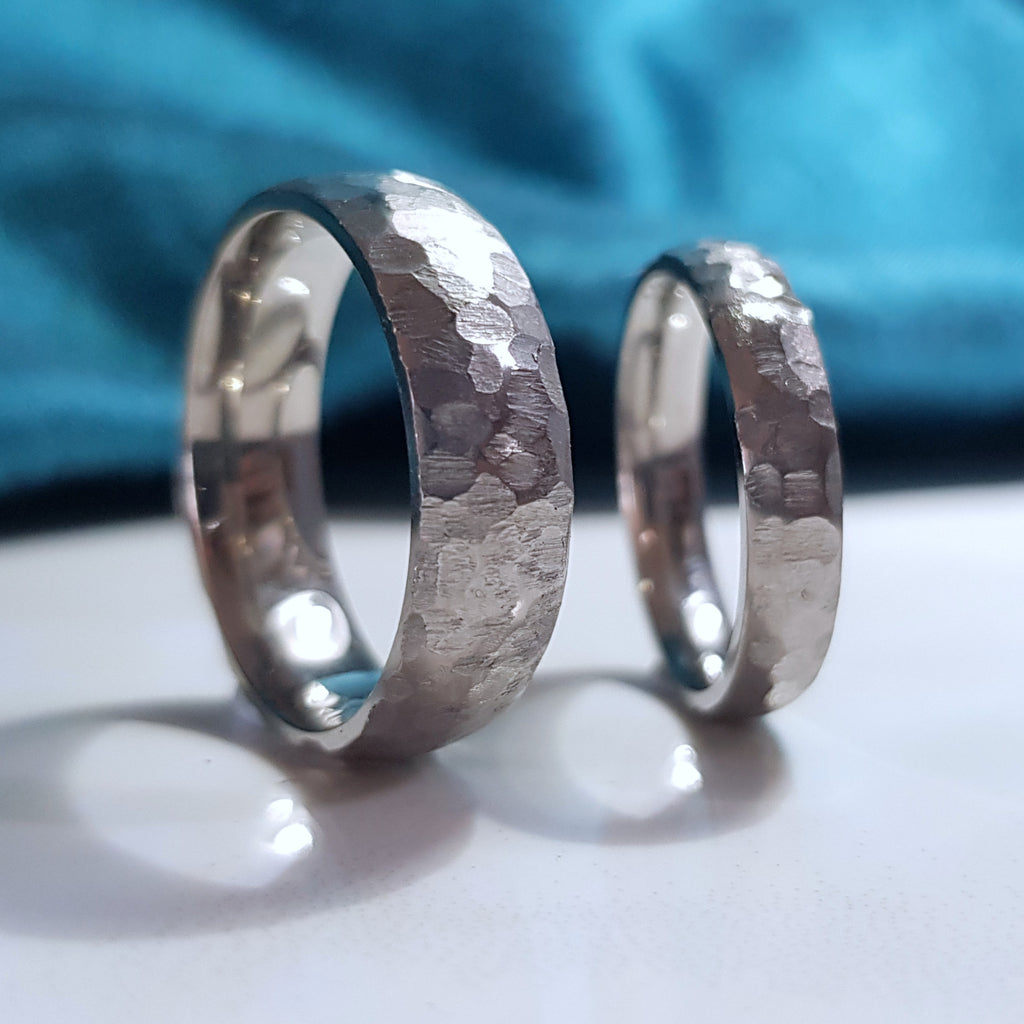 Faceted titanium wedding band hypoallergenic