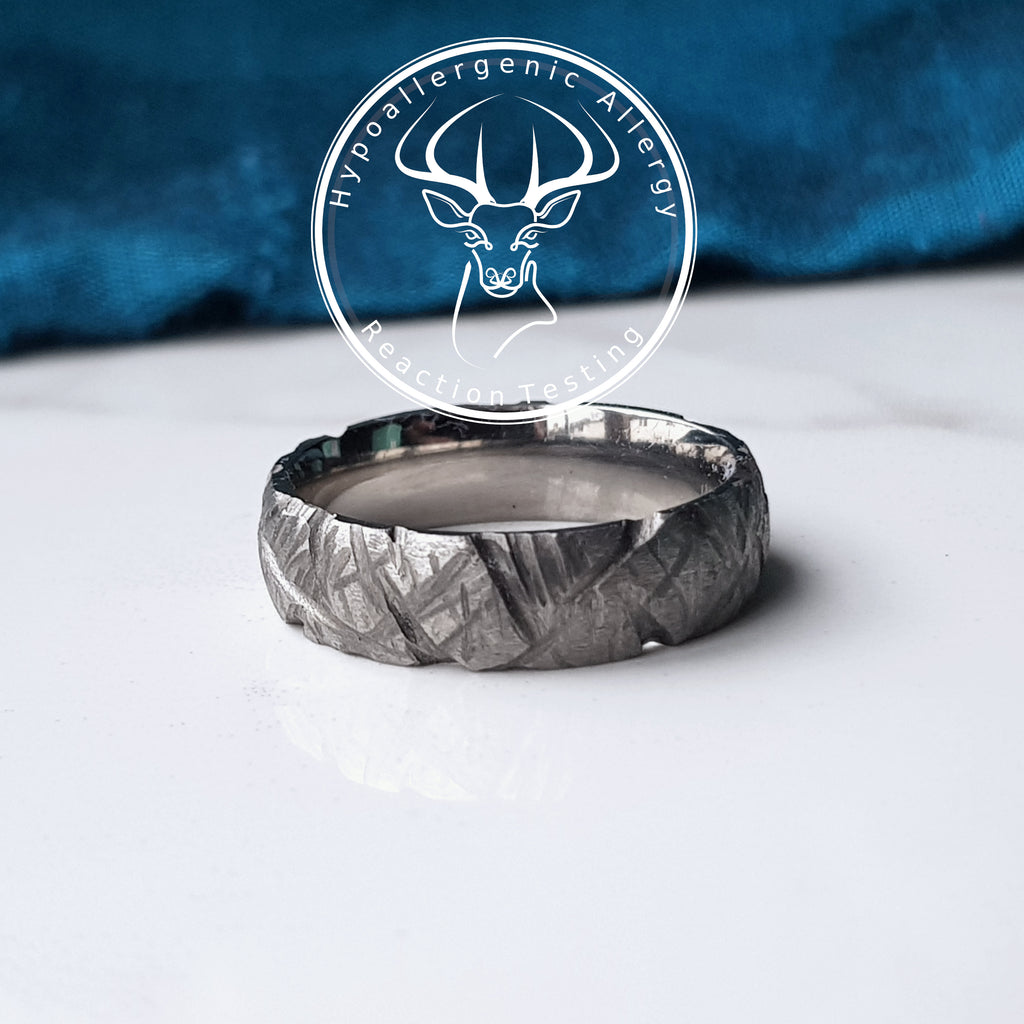 Titanium Wedding Ring -  Rugged Grooved 6mm Wide Band