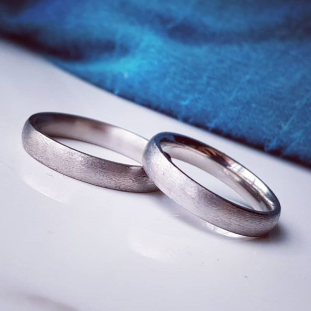 Textured Titanium Wedding Band With Optional Laser Engraving