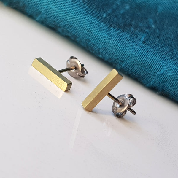 Titanium Bar Stud Earrings Gold