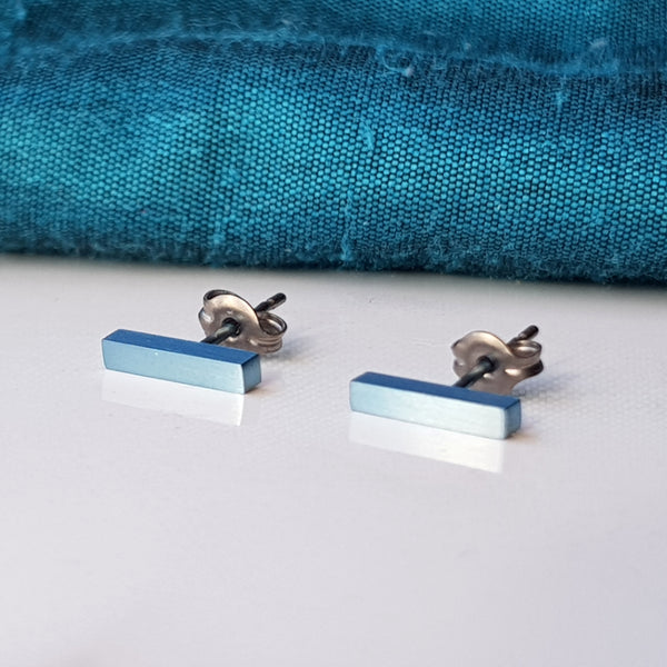 Titanium Bar Stud Earrings Light Blue