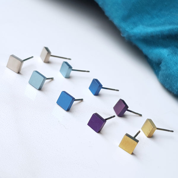 geometric square titanium stud earrings