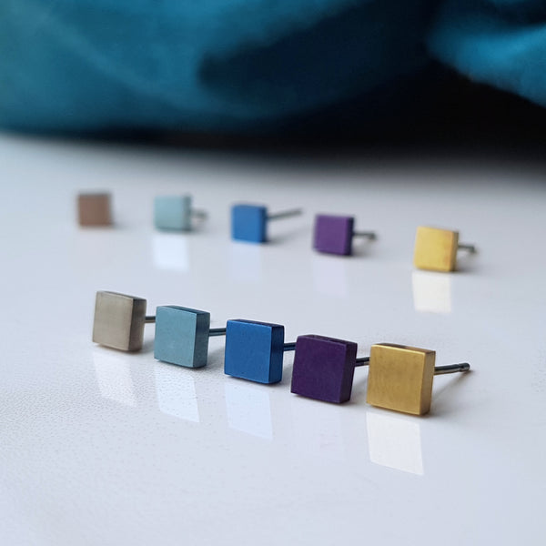 geometric square titanium stud earrings certified