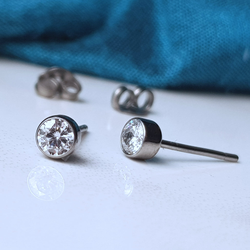 Ethical lab grown hypoallergenic titanium diamond earrings 2