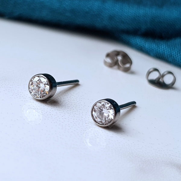 Ethical lab grown hypoallergenic titanium diamond earrings