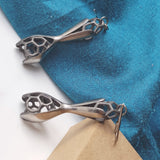 Titanium Organic Petal Seed Pod Cage 3D Printed Earrings