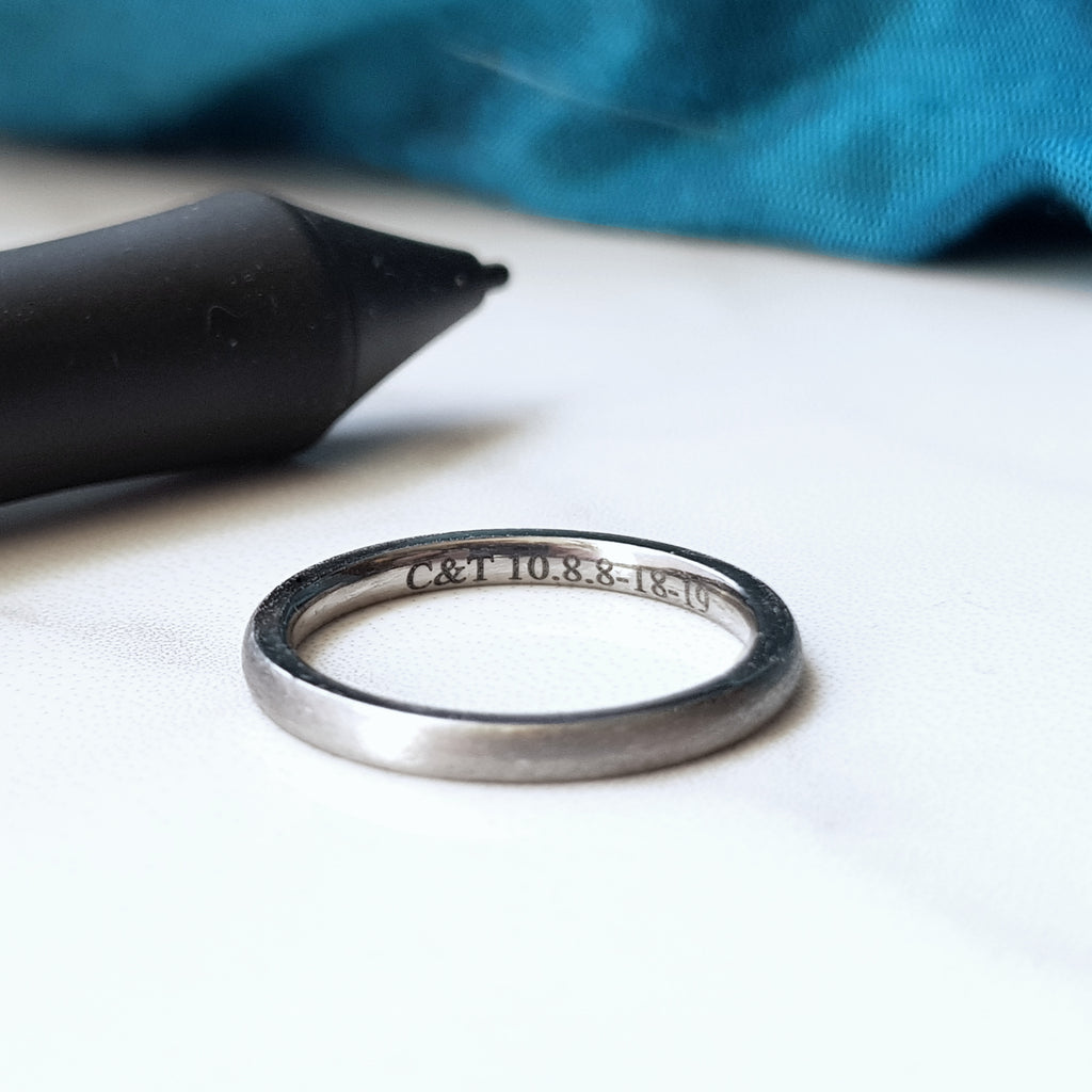 Laser Engraved Titanium Rings - in a Choice of Widths and Styles