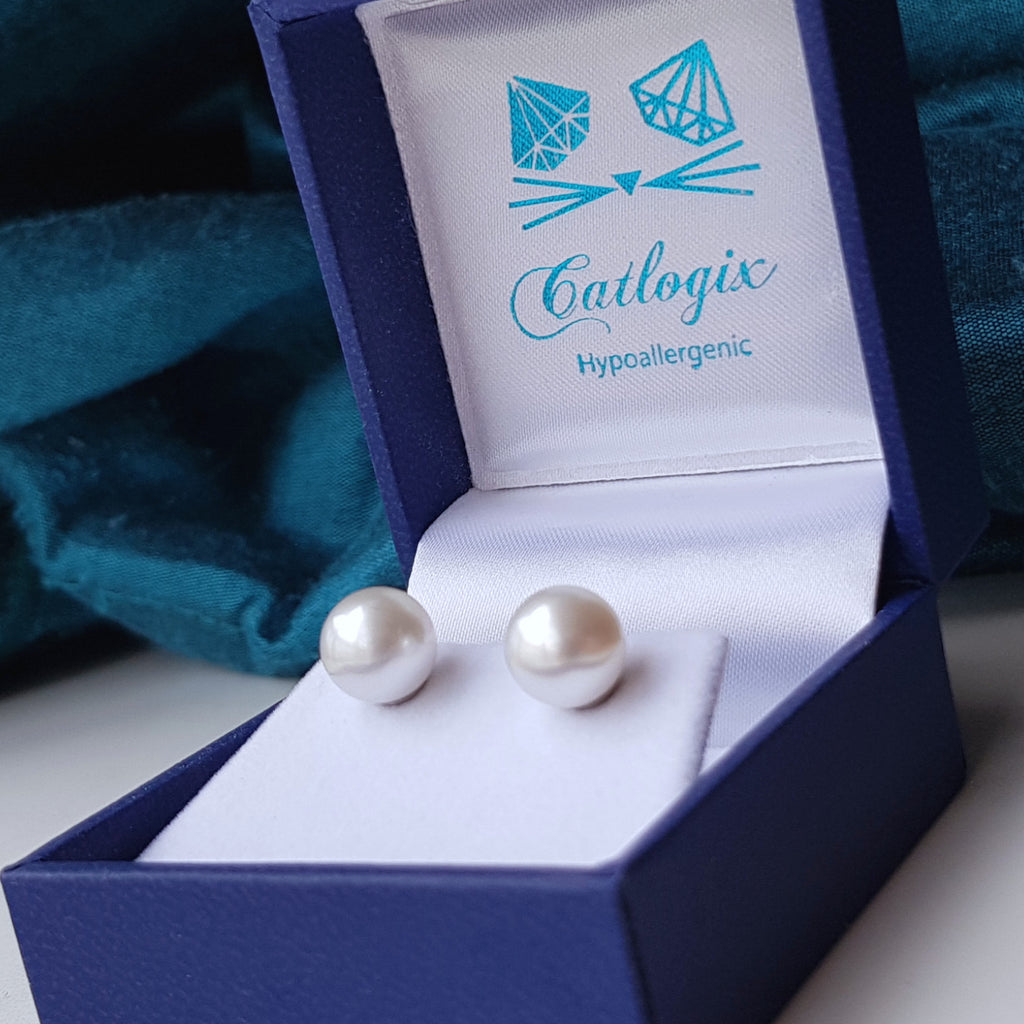 large south sea 8mm titanium pearl earrings