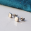 geometric square titanium stud earrings silver