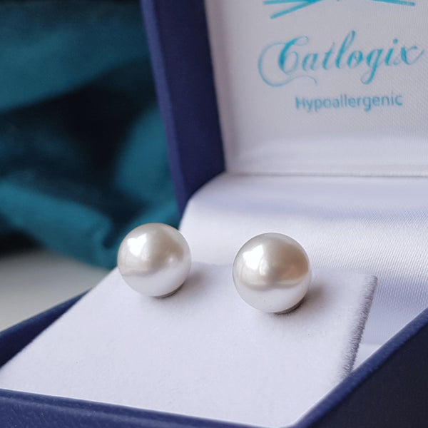 large south sea 8mm pearl earrings white