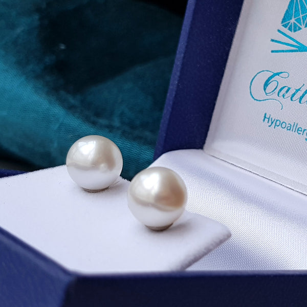large south sea 8mm pearl earrings studs