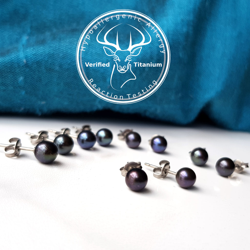 Titanium Black Akoya Pearl Earrings - 5mm