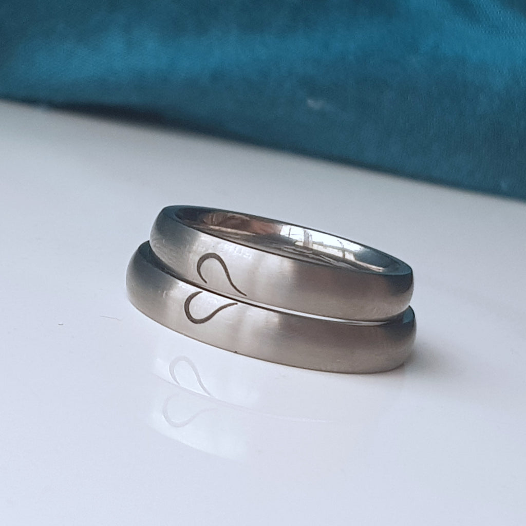 titanium ring matching heart couples ring engraved both matte