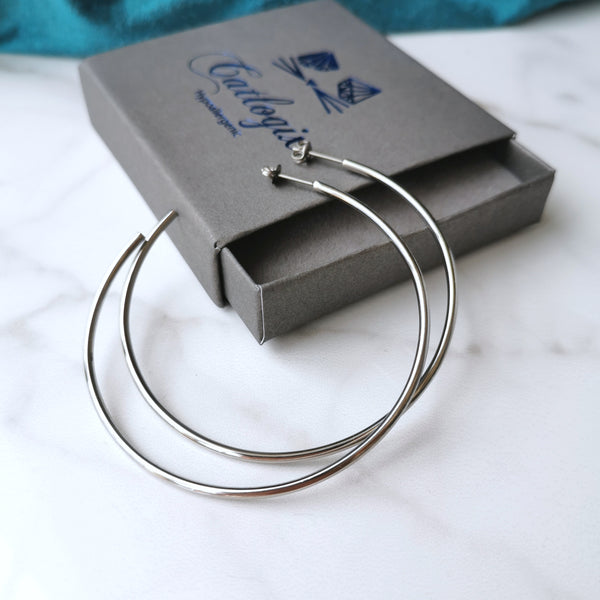 Titanium Hoop Earrings in Smaller 45mm and Larger 60mm Sizes