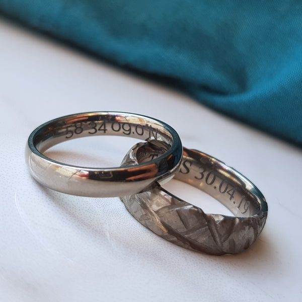 Titanium rings engraved inside example