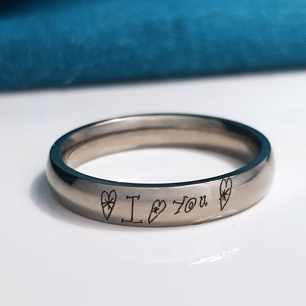 Titanium Handwriting Engraved Ring