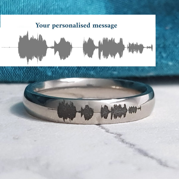 Soundwave Waveform Ring Titanium Your Voice