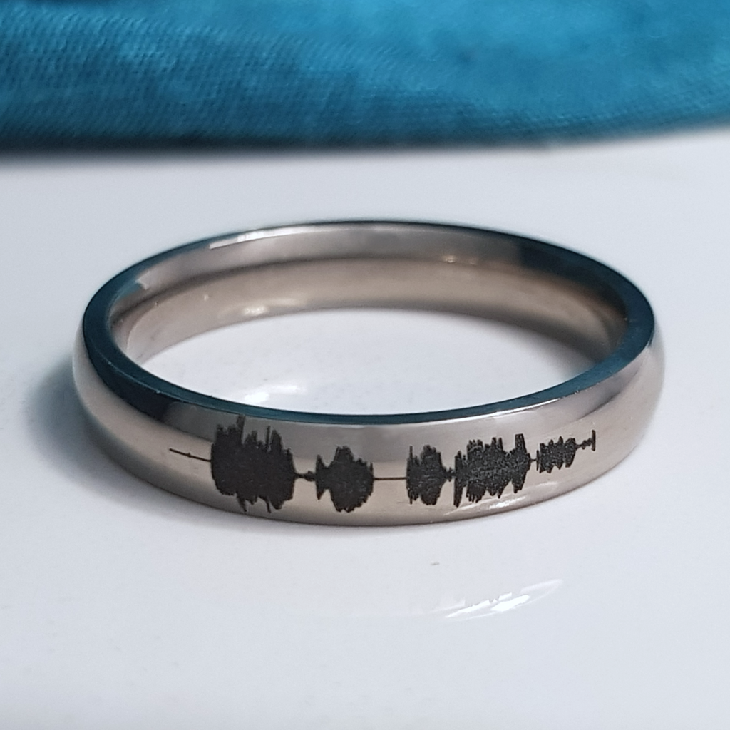 Soundwave Waveform Ring Titanium Laser Engraved Detailed by Catlogix