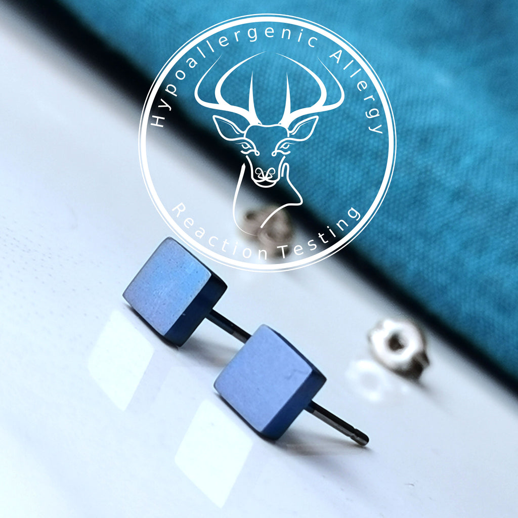 Titanium 5mm Square Stud Earrings in 5 Colours.