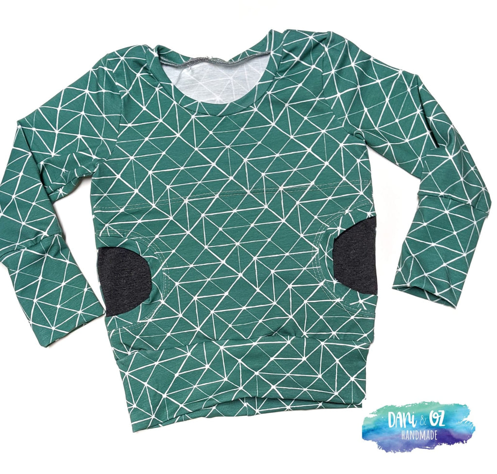 Teal Bloom Pocket Pullover