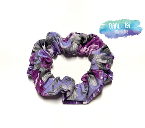 Purple Floral Scrunchie