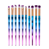 "10 PCs ""Aquatic Wonderland"" Eyeshadow Brush Set which is colorful and perfect for makeup artists"