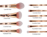 Queen Rose Gold 10 Pcs Brush Set with soft pink bristles for makeup artists