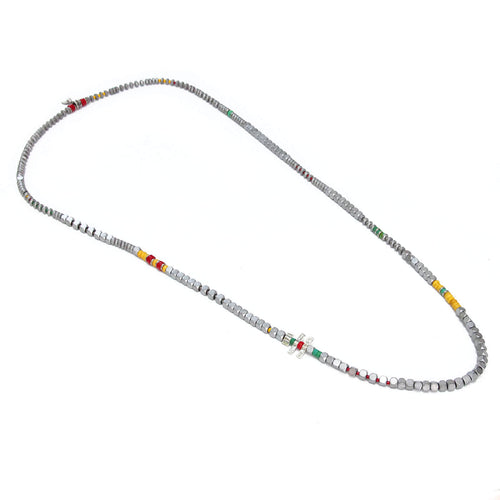 Tetris Necklace - Men - Red, Yellow & Sterling Silver